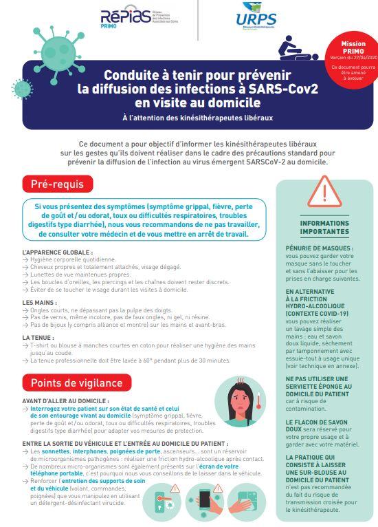 Conduite à tenir pour prévenir la diffusion des infections à SARS-Cov2 en visite au domicile